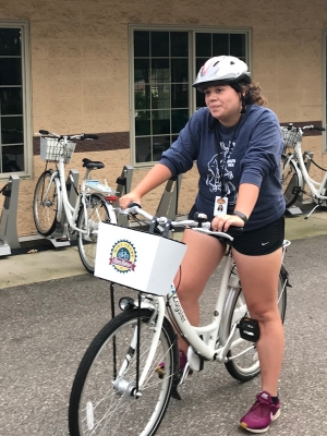 Hannah Wendels readies for a Wisconsin Rapids community bike ride