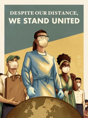 This World War I style poster features essential workers during the COVID-19 pandemic