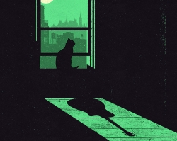 illustration of cat in moonlit window casting a guitar shadow