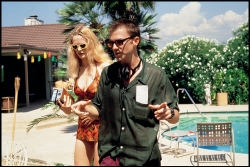 """Actor Heather Graham and Director Paul Thomas Anderson on the set of """"Boogie Nights"""""""