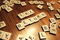 Scrabble tiles spelling tax return