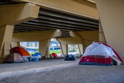 Tent City Homeless Encampment in Milwaukee.