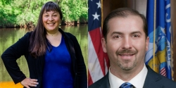 from left to right: Wisconsin's 2020 92st Assembly District candidates Amanda WhiteEagle D-Black River Falls photo courtesy of Amanda WhiteEagleand incumbent Treig Pronschiske, R-Mondoviphoto courtesy of Treig Pronschiske.