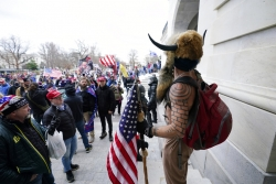 Protesters gathered around the outside of the U.S. capitol building.