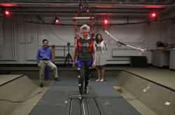 An older adult undergoes a physical therapy session designed to help seniors to avoid falling.