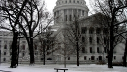 State Capitol building with snow
