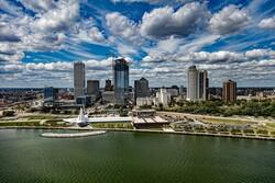 Milwaukee city view from lake