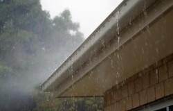house gutter in rain
