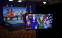 Joe Biden seen in a video feed with his wife Jill Biden during DNC