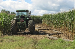 tractor, hose, manure, farming, runoff