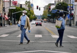 Pedestrians wearing protective masks