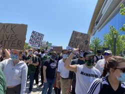 Protesters walk at the march and rally that the Milwaukee Bucks organized at the Fiserv Forum on Sunday afternoon, June 7, 2020.