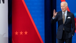 President Joe Biden participates in a CNN town hall at the Pabst Theater in Milwaukee, Wis., Tuesday evening.