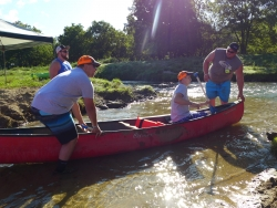 Coon Valley residents board canoe