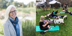 From left to right: Margi Preus, photo courtesy of Margi Preus and people doing yoga with goats photo courtesy of Earth Rider Brewery.​​​​​​​