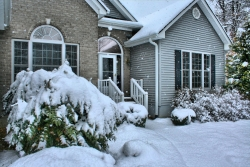 Outside of house in snow