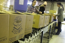 Volunteers pack boxes of food