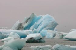 Ice floating in ocean.