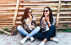 women, girls, talking, laughing, ice cream, social