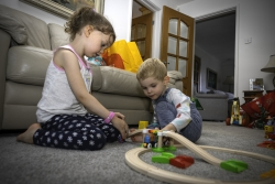 Children playing at home.