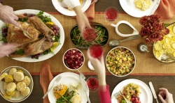 A Thanksgiving dinner table