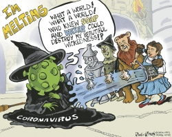 Coronavirus Witch melting in front of Dorothy and her friends.
