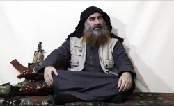 This file image purports to show the leader of the Islamic State group, Abu Bakr al-Baghdadi.