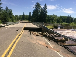 road damage from flooding in northern Wisconsin