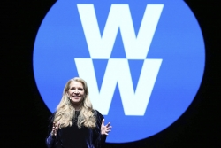 Weight Watchers President and Chief Executive Officer Mindy Grossman speaks at a global employee event in New York.