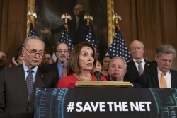 Nancy Pelosi announcing the Save the Internet Act
