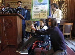 Rep. Melissa Sargent and citizens at a medical marijuana new