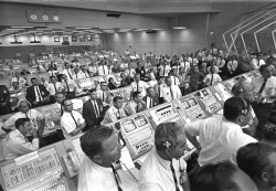 July 1969 launch controllers in the firing room at the Kennedy Space Center in Florida during the Apollo 11 mission to the moon