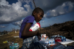 Boy collects donated foods in Bahamas