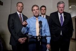 Republican lawmakers, from left, Rep. Scott Perry, R-Pa., Rep. Jim Jordan, R-Ohio