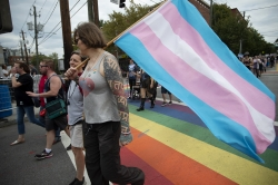 Marchers in LGBTQ pride parade
