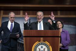 Democratic senators speak to reporters about impeachment trial progress
