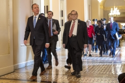 House Impeachment managers walk in Congress