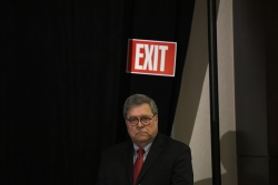 U.S. Attorney General William Barr waiting to speak to the National Sheriffs' Association