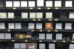 Bare meat cooler shelves amid COVID-19 outbreak
