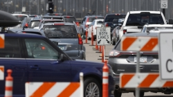 Cars in line for free COVID tests