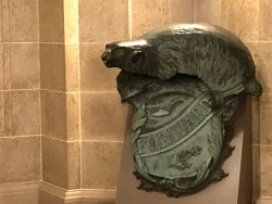 A Badger and Shield statue is seen outside the governor's Capitol office in Madison, Wis.