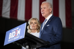 Democratic presidential candidate former Vice President Joe Biden, accompanied by his wife Jill.