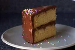 A white cake with white frosting is decorated with sprinkles on top and sprinkles within the batter.