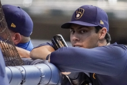 Milwaukee Brewers' Christian Yelich waits to hit during a practice session at Miller Park in Milwaukee.