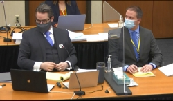 Defense attorney Eric Nelson, left, and defendant, former Minneapolis police officer Derek Chauvin