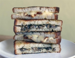 Gruyère Grilled Cheese with Mushrooms and Honey Chive Butter