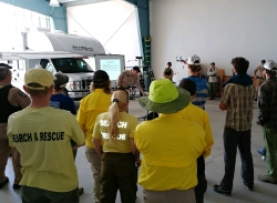 Volunteers in search and rescue training