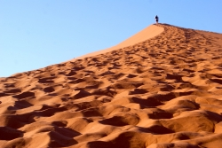 A person walks up a sand dune with footprints behind them