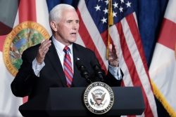 Vice President Mike Pence delivers remarks during a campaign event in Kissimmee, Fla.