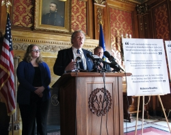 Scot Ross, then-director of the liberal group One Wisconsin Now, speaks during a news conference